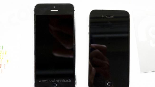 Fully-assembled iPhone 5 pictured side-by-side with iPhone 4