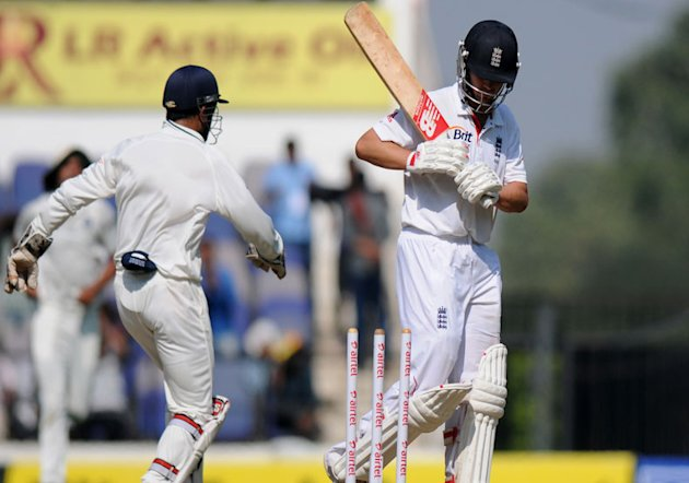 Jonathan Trott shoulders arms to be bowled by Ravindra Jadeja on Day 1 of the fourth cricket Test match between India and England at Jamtha Stadium in Nagpur, Thursday, December 13 2012. (BCCI)