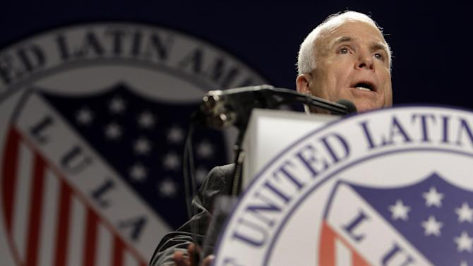 FILE - In this July 8, 2008 file photo, then-Republican presidential candidate Sen. John McCain, R-Ariz., addresses the Annual League of United Latin American Citizens (LULAC) Convention in Washington. Having lost the popular vote in five of six presidential elections, Republicans are plunging into intense self-examination. Hard-core conservatives say the party should abandon comparative centrists like John McCain and Mitt Romney. But establishment Republicans note the party still runs the House and President Obama's popular-vote margin was smaller than before. Perhaps the GOP's biggest challenge: improving relations with America's fast-growing Hispanics.  (AP Photo/Carolyn Kaster)