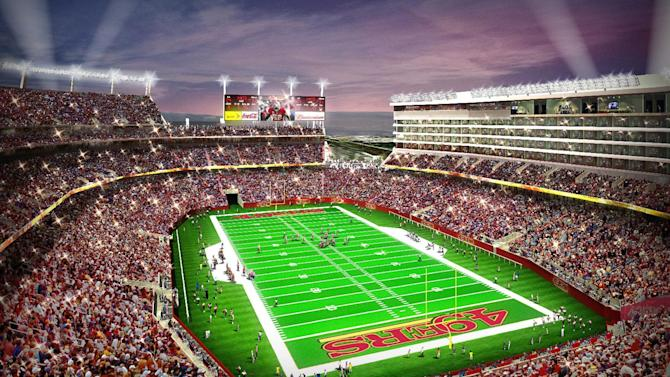 In this artist drawing provided by the San Francisco 49ers,  the proposed 49ers stadium in Santa Clara, Calif. is shown. NFL owners will vote on the sites of the 50th and 51st Super Bowls on Tuesday, May 21, 2013 at their spring meetings. The San Francisco area, where the new stadium is being built in Santa Clara, and South Florida are competing for the the 50th edition, to be held in February 2016. The loser in that bidding will go against Houston to host the 51st game the following year.(AP Photo/San Francisco 49ers) NO SALES