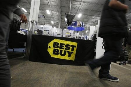 A Best Buy logo is seen during Black Friday in San Francisco