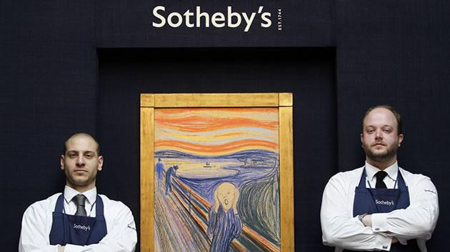 Staff stand guard by Edvard Munch's 'The Scream' as it is hung for display at Sotheby's Auction Rooms in London. The picture made with pastels is one of four versions of the composition, and dates from 1895, it will be auctioned in the Impressionist and Modern Art Sale in New York, with an estimated price of 80 million dollars.