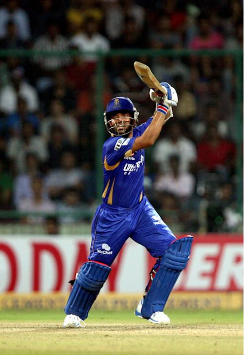 Ajinkya Rahane in action during the CLT20 Final between Rajasthan Royals and Mumbai Indians at Feroz Shah Kotla stadium, in Delhi on Oct. 6, 2013. (Photo: IANS)