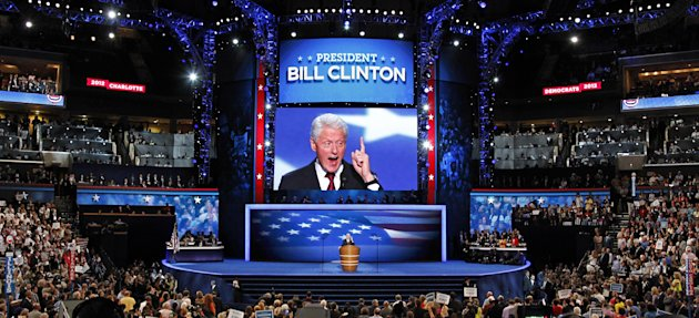 FILE - In this Sept. 5, 2012 file photo, former President Bill Clinton addresses the Democratic National Convention in Charlotte, N.C. Clinton&#39;s convention speech nominating President Barack Obama for a second term left Piers Morgan of CNN star-struck: &quot;Already the best speech of either convention,&quot; the prime-time talk show host tweeted. &quot;An oratorical genius right up there with Churchill, Kennedy, MLK and Mandela.&quot; (AP Photo/J. Scott Applewhite, File)