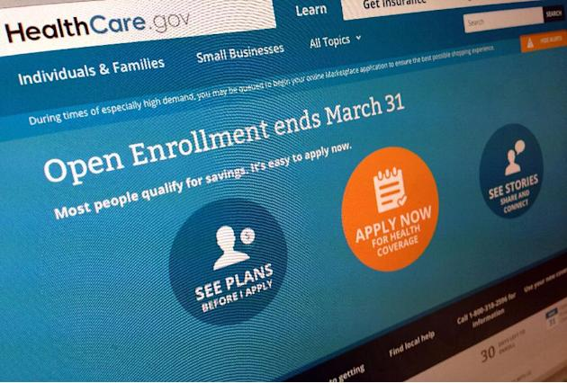 FILE - This March 1, 2014 file photo shows part of the website for HealthCare.gov as photographed in Washington. Welcome news for the Obama administration: A major new survey out Monday says the U.S.