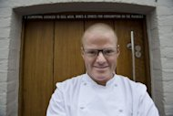 British experimental chef Heston Blumenthal, shown in a file picture outside his three-Michelin-starred restaurant the Fat Duck, has adopted an unorthodox method for cleansing his palate, he revealed on Saturday -- sucking on tampons