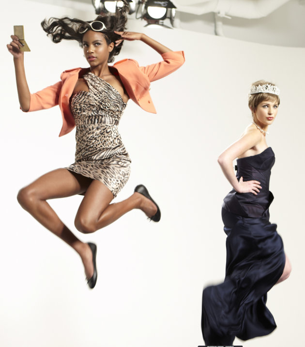 "Eboni poses as Jacqueline Kennedy Onassis and Ashley poses as Princess Diana in a photo shoot on ""America's Next Top Model."""