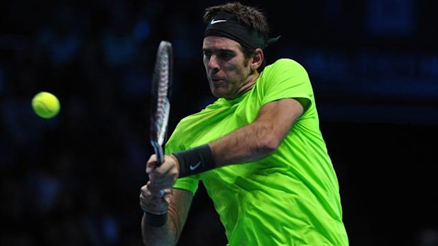 Juan Martin Del Potro in action at the ATP World Tour Finals in in London (AFP)
