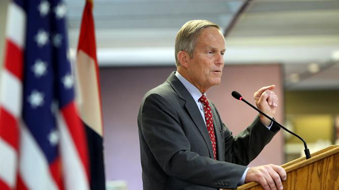 FILE  - This Aug. 10, 2012 file photo shows Todd Akin, Republican, candidate for U.S. Senator from Missouri, speaks at the Missouri Farm Bureau candidate interview and endorsement meeting in Jefferson City, Mo. Akin, Missouri's GOP Senate candidate, has questioned whether women can become pregnant when they're raped, Sunday, Aug. 19, 2012. (AP Photo/St. Louis Pos-Dispatch, Christian Gooden)