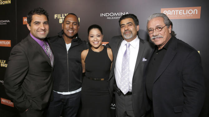 "Directors Youssef Delara and Michael Olmos, Gina Rodriguez, producer Amir Delara and Edward James Olmos attend Pantelion's ""Filly Brown"" Los Angeles Premiere Hosted by the Rivera Family at the Regal LA Live Stadium on April 17, 2013 in Los Angeles. (Photo by Todd Williamson/Invision for Pantelion Films/AP Images)"