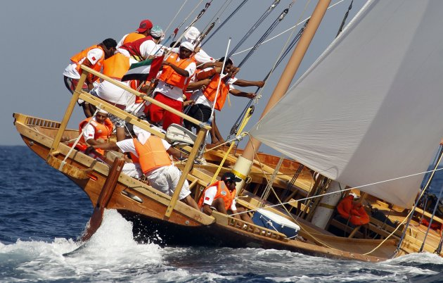 "Team manages a dhow named ""Al Qaffay"", owned by Sheikh Hamdan, during the Al Gaffal Traditional Dhow Sailing Race in Dubai"