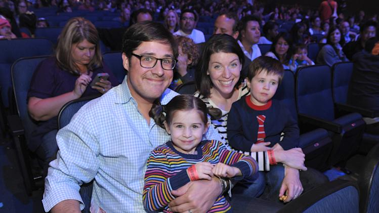 Rich Sommer, left, Virginia Sommer, 2nd from right, and their two children Beatrice and Patrick attend Yo Gabba Gabba! Live!: Get The Sillies Out! 50+ city tour kick-off performance on Thanksgiving weekend at Nokia Theatre L.A. Live on Friday Nov. 23, 2012 in Los Angeles. (Photo by John Shearer/Invision for GabbaCaDabra, LLC./AP Images)
