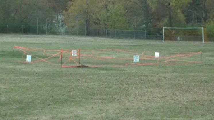 The St. Bernadette soccer field, after a sewage break — KMOV photo