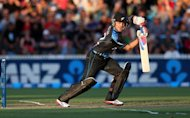 New Zealand&#39;s Brendon McCullum hits a shot during their second Twenty20 international against England in Hamilton on February 12, 2013. A captain&#39;s knock from McCullum helped New Zealand set England an imposing target of 193 after being sent into bat on Tuesday