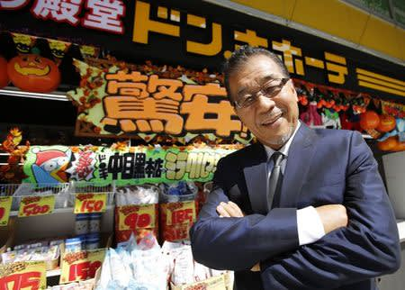 File photo of Japanese discount store operator Don Quijote Holdings CEO Takao Yasuda at Don Quijote's central branch store in Tokyo