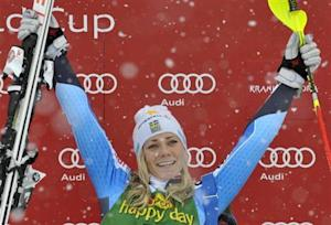 Hansdotter of Sweden celebrates as she won the women's FIS Alpine Skiing World Cup slalom race in Kranjska Gora
