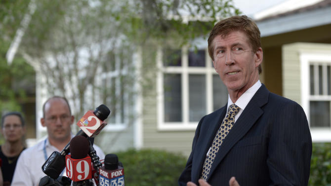 Mark O'Mara, attorney for George Zimmerman, addresses reporters outside his offices in Orlando, Fla., Wednesday, April 11, 2012. Zimmerman, 28, the neighborhood watch volunteer who shot 17-year-old Trayvon Martin, was arrested and charged with second-degree murder Wednesday after weeks of mounting tensions and protests across the country. O'Mara said Zimmerman would plead not guilty. (AP Photo/Phelan M. Ebenhack)