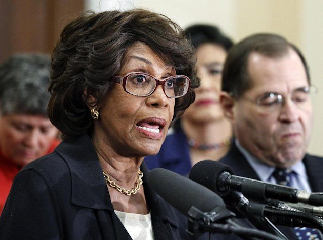 FILE - In this Feb. 8, 2011 file photo, U.S. Rep. Maxine Waters, D-Calif., speaks during news conference on a Woman's Right to Choose on Capitol Hill in Washington. The House Ethics Committee will hold a hearing Friday, Sept. 21, 2012, in the case of Waters, a senior Democrat on the Financial Services Committee, who disputes allegations she tried to steer U.S. bailout money to a bank where her husband owns stock. (AP Photo/Manuel Balce Ceneta, File)