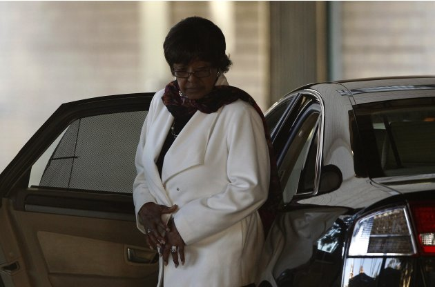 Winnie Mandela, ex-wife of former South African President Nelson Mandela, arrives at the hospital where Mandela is being treated in Pretoria