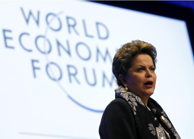 Brazil's President Rousseff speaks during a session at World Economic Forum in Davos