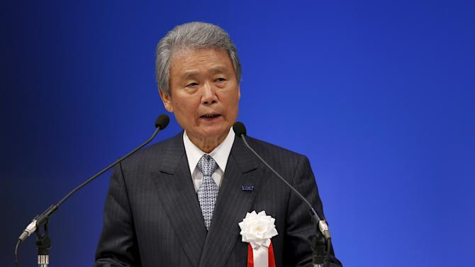 Japan Business Federation (Keidanren)'s Chairman Sakakibara delivers a speech during a ceremony for the ruling Liberal Democratic Party's 60th anniversary in Tokyo