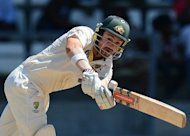 Australia's Ed Cowan during the third Test against the West Indies on April 25. Cowan sprang to the defence of Ricky Ponting after both had scored half centuries to put the Aussies in a commanding position in the third and final Test