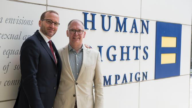 IMAGE DISTRIBUTED FOR HUMAN RIGHTS CAMPAIGN - Chad Griffin, Human Rights Campaign President, and Jim Obergefell, right, are photographed outside the headquarters of the Human Rights Campaign on Monday, April 27, 2015 in Washington. Obergefell is the named plaintiff in the marriage equality case before the Supreme Court. (Kevin Wolf/AP Images for Human Rights Campaign)