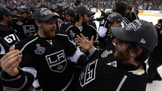 Trevor Lewis #22 (L) And Goaltender Jonathan Quick #32 Of The Los Angeles Kings Celebrate  Getty Images