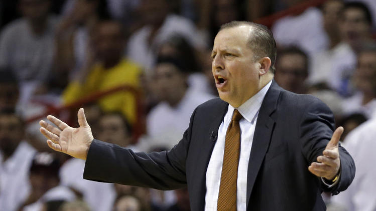 Chicago Bulls head coach Tom Thibodeau reacts to a call during the first half of Game 1 of the NBA basketball playoff series in the Eastern Conference semifinals against the Miami Heat, Monday, May 6, 2013 in Miami. (AP Photo/Lynne Sladky)