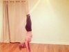 Perfect form: Rosie Huntington-Whiteley demonstrates how to do a yoga handstand