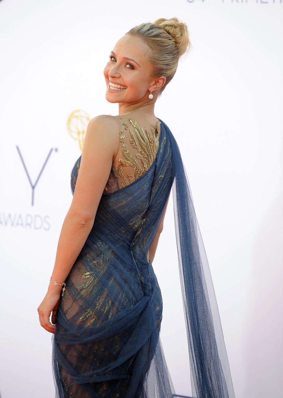 Actress Hayden Panettiere arrives at the 64th Primetime Emmy Awards at the Nokia Theatre on Sunday, Sept. 23, 2012, in Los Angeles.  (Photo by Jordan Strauss/Invision/AP)