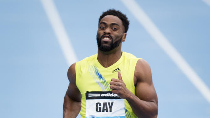 Tyson Gay, representing the USA, competes in the Men's 100m during the IAAF Diamond League Grand Prix competition on Randall's Island, Saturday, May 25, 2013, in New York. Gay won the event. (AP Photo/John Minchillo)