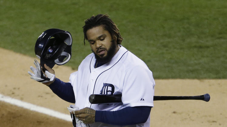 Detroit Tigers' Prince Fielder reacts after striking out during the first inning of Game 4 of baseball's World Series against the San Francisco Giants Sunday, Oct. 28, 2012, in Detroit. (AP Photo/Patrick Semansky)
