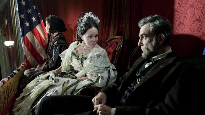 """This image released by DreamWorks II Distribution Co., LLC and Twentieth Century Fox Film Corporation shows Sally Field and Daniel Day-Lewis appear in a scene from """"Lincoln.""""  Fields was nominated for an Academy Award for best supporting actress and Lewis was nominated for best actor on Thursday, Jan. 10, 2013, for their roles in """"Lincoln.""""  The 85th Academy Awards will air live on Sunday, Feb. 24, 2013 on ABC. (AP Photo/DreamWorks II Distribution Co., LLC and Twentieth Century Fox Film Corporation, David James)"""