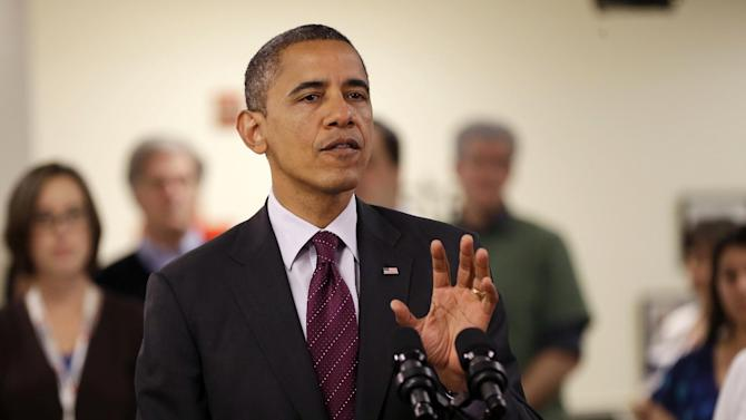 President Barack Obama gestures while speaking during the his visit to the Disaster Operation Center of the Red Cross National Headquarter to discuss superstorm Sandy, Tuesday, Oct. 30, 2012, in Washington. (AP Photo/Pablo Martinez Monsivais)