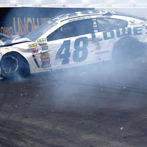 Flat left rear tires plague Jimmie Johnson