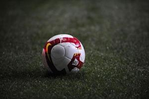 Premier League football is seen during the English Premier League soccer match between Newcastle United and Manchester United
