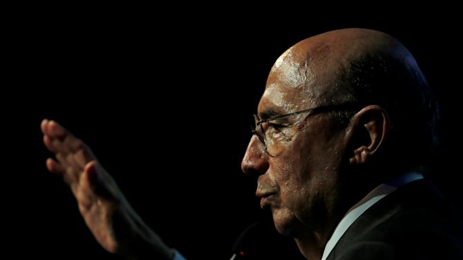 Brazil's Finance Minister Meirelles attends a meeting with French businessmen in Sao Paulo