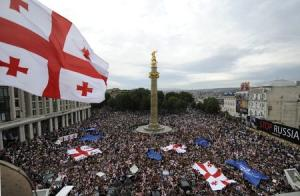File photo of people gathering for rally to protest against Russian military actions and its backing for the country's two separatist regions Abkhazia and South Ossetia in Tbilisi