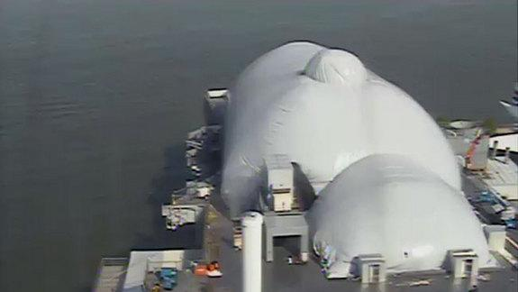 Space Shuttle Enterprise Encased in Inflatable Shelter at NYC Museum