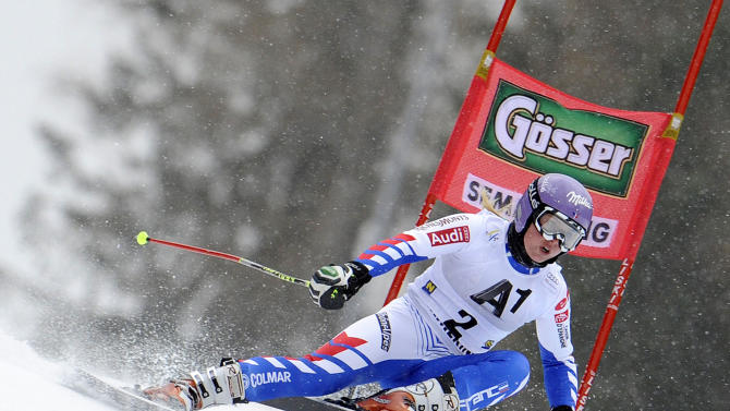 France's Tessa Worley competes during the first run of an alpine ski, women's World Cup giant slalom in Semmering, Austria, Friday, Dec. 28, 2012. (AP Photo/Giovanni Auletta)