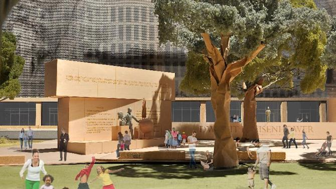 This model image, provided by Eisenhower Memorial Commission, shows the proposed Dwight D. Eisenhower Memorial to be built in Washington. Plans to build a national memorial honoring President Dwight D. Eisenhower will be delayed into next year as the World War II general's family continues to object to a design by architect Frank Gehry. A review of the memorial design was left off the December agenda Friday for the National Capital Planning Commission, which must approve the project. That means the commission won't consider the project until sometime in 2013.  (AP Photo/Eisenhower Memorial Commission)