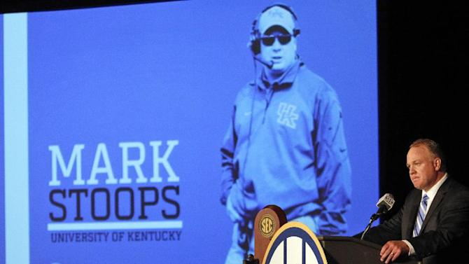 Kentucky coach Mark Stoops speaks to the media at the Southeastern Conference NCAA college football media days Thursday, July 17, 2014, in Hoover, Ala
