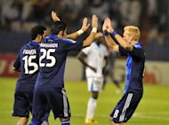 Al Hilal club players celebrate a goal during an AFC Champions League match in May. Al Hilal are still chasing their first Champions League title, despite twice winning the competition's precursor, the Asian Club Championship, as well as the Asian Cup Winners' Cup