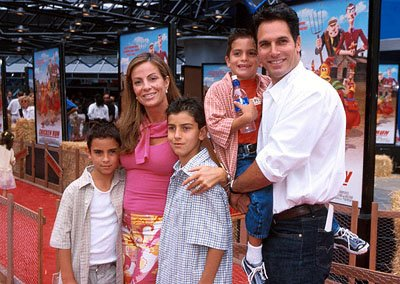 Don Diamont and his brood at the Universal City premiere of DreamWorks Pictures? clay animation comedy adventure Chicken Run