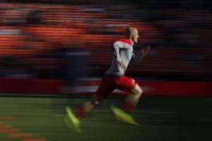 Bradley of the U.S. men's national soccer team warms up before a friendly soccer match against Azerbaijan men's national soccer team in San Francisco