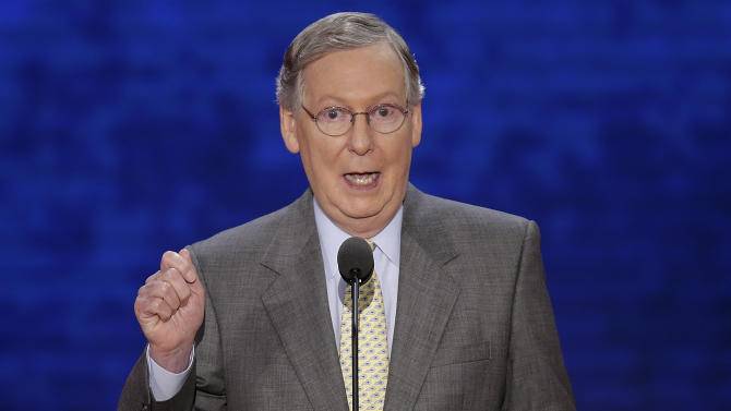 Senate Minority Leader Mitch McConnell, of Kentucky addresses the Republican National Convention during the nomination process for Paul Ryan in Tampa, Fla., on Tuesday, Aug. 28, 2012. (AP Photo/J. Scott Applewhite)