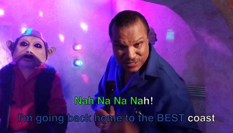 Billy Dee WIlliams rocks the cantina at karaoke night...