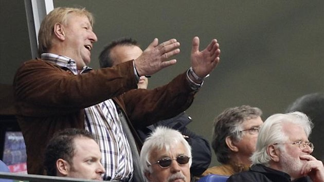 Former Hamburg SV player Horst Hrubesch watches a German Bundesliga first division soccer match between Hamburg SV and Nuremberg in Hamburg May 1, 2010. (Reuters)