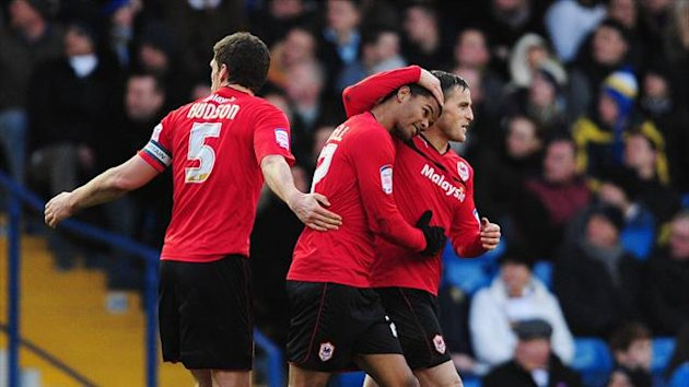 Fraizer Campbell&#39;s, centre, debut goal for Cardiff was enough to claim three points at Leeds